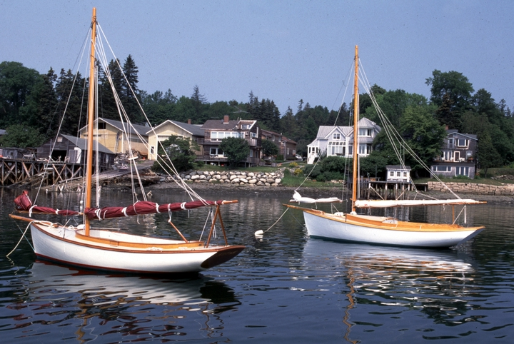 Two small sailboats built by Ralph W. Stanley: 19-foot 'Little Folly' (left) and 16-foot 'Timothy M', Southwest Harbor, Maine, 1998, photograph by Peggy McKenna, courtesy National Endowment for the Arts