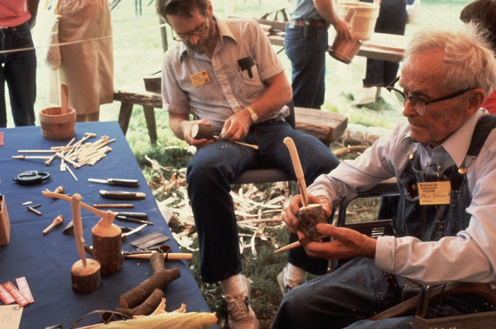Alex Stewart demonstrating at the 1983 Festival of American Folklife in a program honoring the National Heritage Fellows, courtesy National Endowment for the Arts
