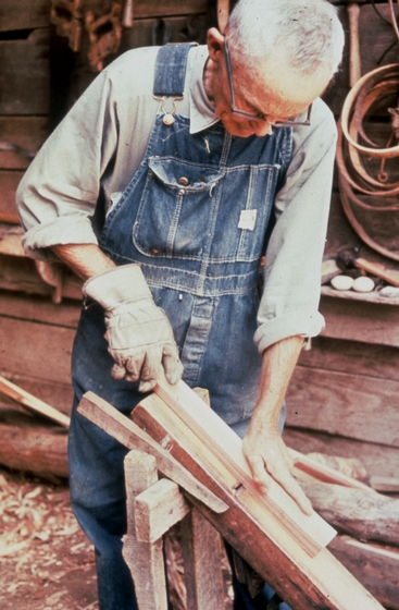 Alex Stewart at work in his shop, Sneedville, Tennessee, ca. 1975-79, photograph by Roy Overcast, courtesy Tennessee Arts Commission