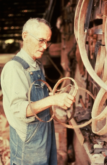 Alex Stewart at work in his shop, making a hoop for a butter churn, Sneedville, Tennessee, ca. 1975-79, photograph by Roy Overcast, courtesy Tennessee Arts Commission