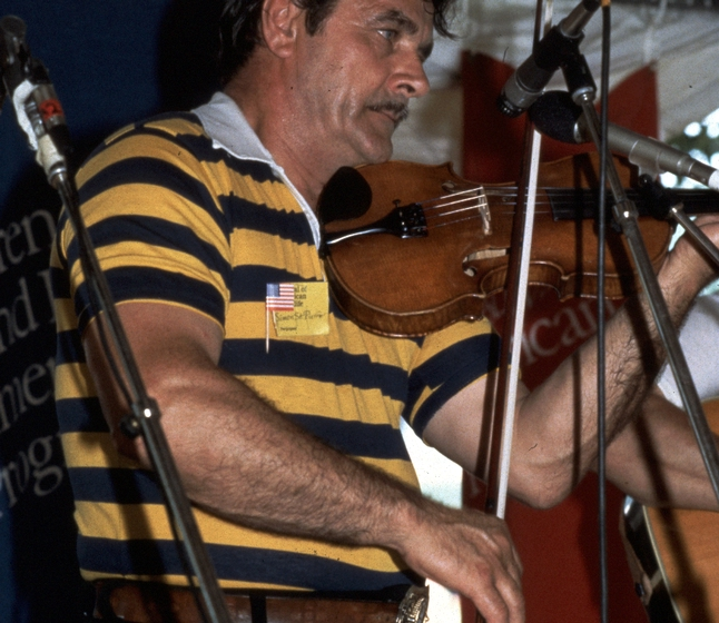 Simon St. Pierre performing at the 1983 Festival of American Folklife in a program honoring the National Heritage Fellows, courtesy Ralph Rinzler Folklife Archives and Collections, Center for Folklife and Cultural Heritage, Smithsonian Institution
