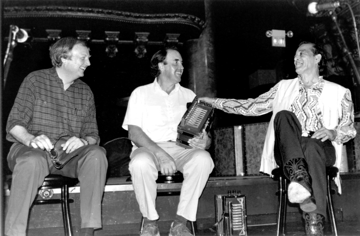 Chris Strachwitz, Marc Savoy and Flaco Jiménez, at the accordion workshop at San Francisco's Great American Music Hall, Arhoolie's 35th Anniversary Celebration, courtesy Chris Strachwitz