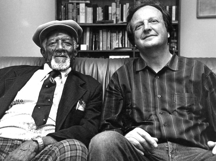 Blues pianist and singer Alexander H. Moore, Sr., and Chris Strachwitz, Dallas, Texas, 1986, photograph by Alan Govenar