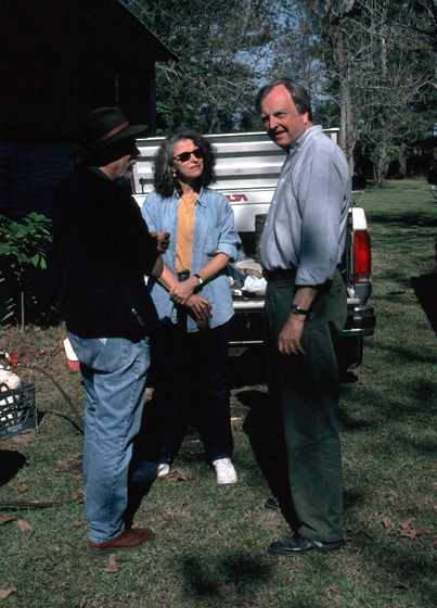 Chris Strachwitz (right) at the annual *boucherie* hosted by Marc and Ann Savoy, Eunice, Louisiana, 1996, photograph by Alan Govenar