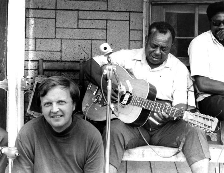 Chris Strachwitz with Big Joe Williams, Crawford, Mississippi, 1971, courtesy Chris Strachwitz