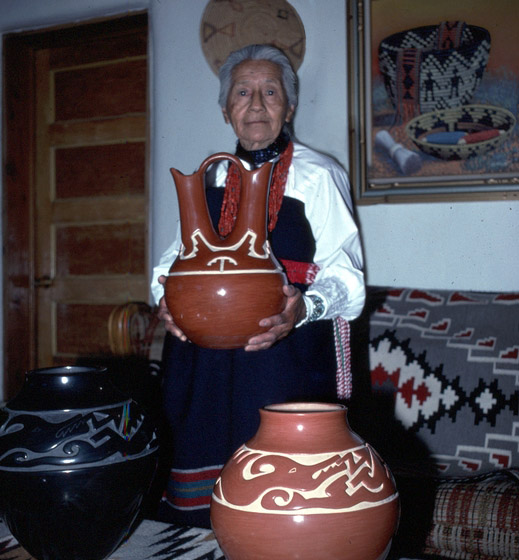 Margaret Tafoya with her hand-crafted earthenware, Santa Clara Pueblo, New Mexico, photograph by Tom McCarthy, courtesy National Endowment for the Arts