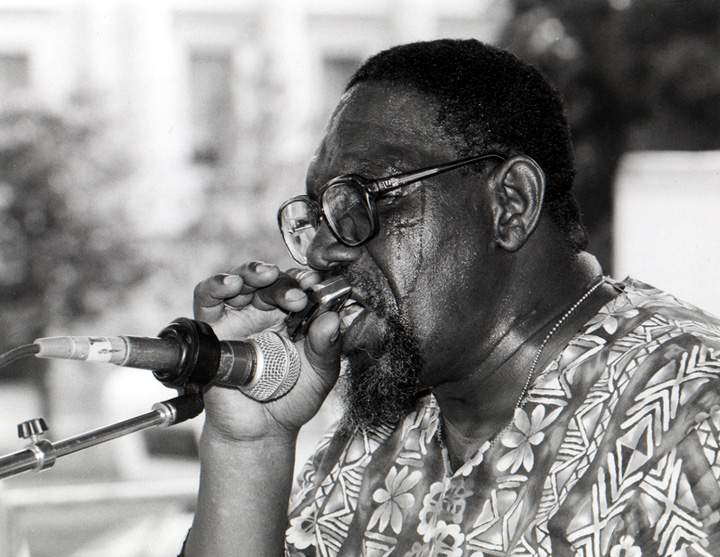 "Sanders ""Sonny"" Terry was a versatile blues harmonica player, skilled at creating special effects such as train whistles, animal cries, and vocal moans. With his longtime musical partner, guitarist Brownie McGhee, Terry appeared on Broadway and became part of the 1950s folk revival. Courtesy Ralph Rinzler Folklife Archives and Collections, Smithsonian Institution"