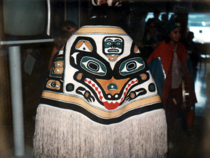 Kagwaantaan Wolf blanket by Jennie Thlunaut (the last blanket she made) Juneau, Alaska, 1980, courtesy Agnes Bellinger (Jennie Thlunaut's daughter)