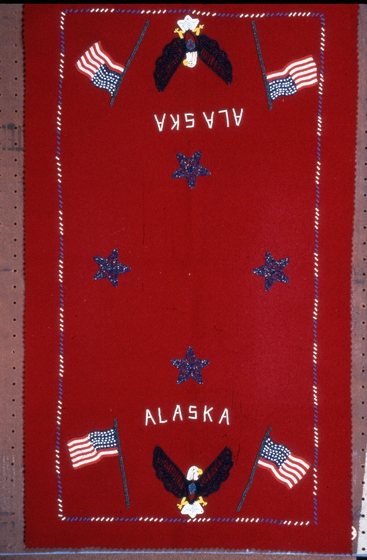 Beaded blanket by Jennie Thlunaut, courtesy National Endowment for the Arts