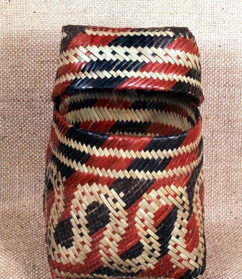 Double-weave basket by Ada Thomas, Snake design with worm track lid, courtesy National Endowment for the Arts