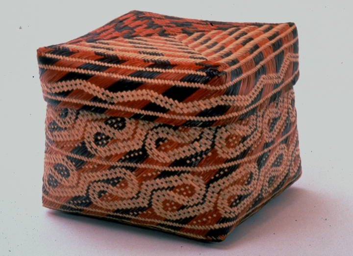Double-weave storage basket with alligator entrails patterns by Ada Thomas, photograph by Michel Monteaux, courtesy Museum of International Folk Art (a unit of the Museum of New Mexico)