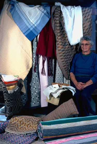 Dorothy Thompson with her weavings, photograph by Gerald Milnes, Augusta Heritage Center