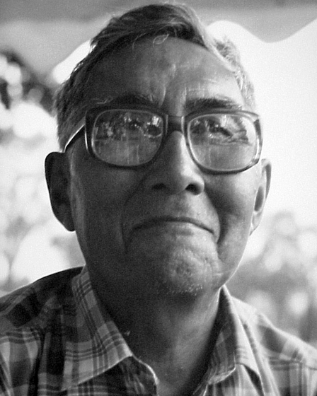 Alaska Native Paul Tiulana was a leader in the preservation of Inupiat traditions, including ivory carving, mask making, singing and drumming. Photograph by Kathy James, National Council for the Traditional Arts