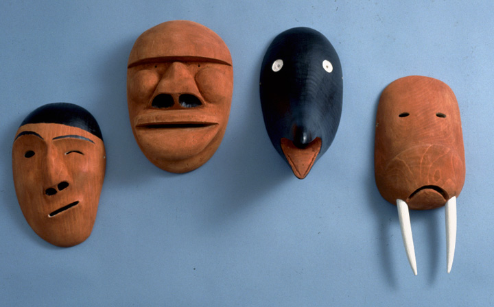 Inupiat King Island masks by Paul Tiulana, photograph by Chris Arend, courtesy Alaska State Council on the Arts