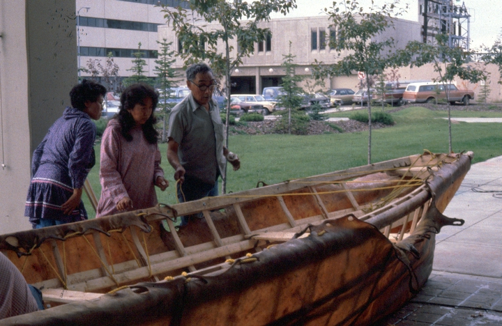 Paul Tiulana (right), skin boat project, courtesy Alaska State Council on the Arts
