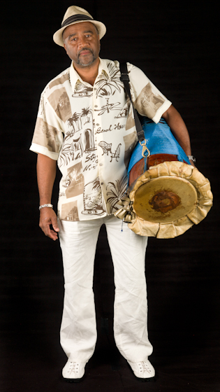Ezequiel Torres is a master of the making and playing of *batá* drums, a set of three double-headed hourglass-shaped drums used in the traditional religious ceremonies of West Africa's Yoruba people. Bethesda, Maryland, 2010, photograph by Alan Govenar