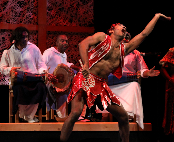 *Batá* drummer Ezequiel Torres and his troupe, 2010 National Heritage Fellowship Concert, Bethesda, Maryland, photograph by Michael G. Stewart