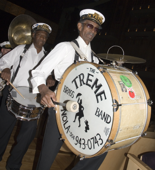 Benny Jones Sr. (snare drum) and Lionel P. Batiste Sr. (bass drum), 2006 National Heritage Fellowship Concert, Strathmore Music Center, North Bethesda, Maryland, photograph by Alan Hatchett