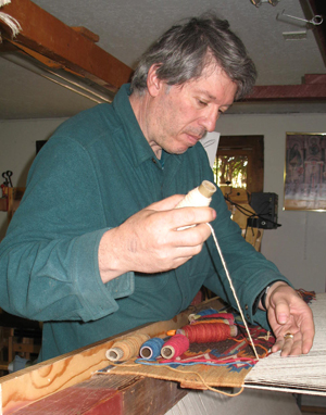 Irvin L. Trujillo at work in his studio, Chimayo, New Mexico, courtesy Irvin L. Trujillo