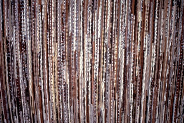 """'Hit and Miss' woven carpet (detail) by Dorothy Trumpold. """"It's called 'Hit and Miss,' """" Trumpold said, """"because it brings together different colors and fabrics to create an unpredictable pattern."""" Courtesy National Endowment for the Arts"""