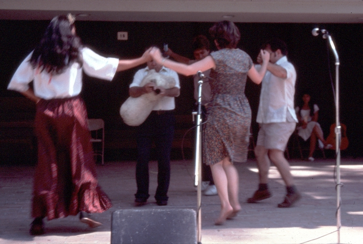 Nikitas Tsimouris playing for dancers, courtesy Florida Folklife Program and National Endowment for the Arts
