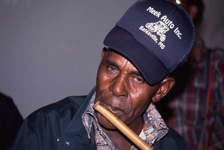 Othar Turner, who lived in north Mississippi's hill country, played cane fife in the Rising Star Fife and Drum Band. Some scholars consider the area's fife and drum music the most deeply rooted African style still being played in the United States. 1992 National Heritage Fellowship Ceremonies, courtesy National Endowment for the Arts