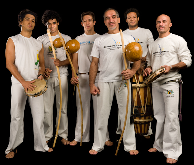 Jelon Vieira (fourth from right) and members of his company DanceBrazil, Bethesda, Maryland, 2008, photograph by Alan Govenar