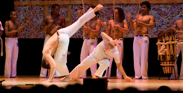 Jelon Vieira and members of his company DanceBrazil, 2008 National Heritage Fellowship Concert, Bethesda, Maryland, courtesy National Endowment for the Arts, photograph by Alan Hatchett