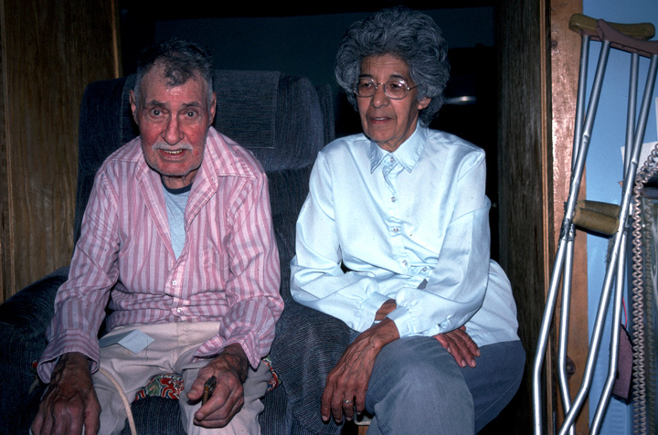 Cleofes Vigil and his wife, Frances, at home in San Cristobal, New Mexico, 1986, photograph by Alan Govenar