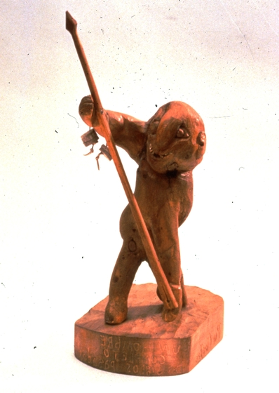 "Cleofes Vigil, *El Hombre Completo de Siglos Pasados,* carved piñon wood, 21"" high, ca. 1983, photograph by Michel Monteaux, courtesy Museum of International Folk Art, Santa Fe (a unit of the Museum of New Mexico)"