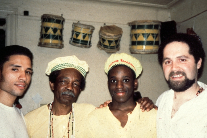 Felipe García Villamil (second from left) with his son (third from left) and two students, courtesy National Endowment for the Arts