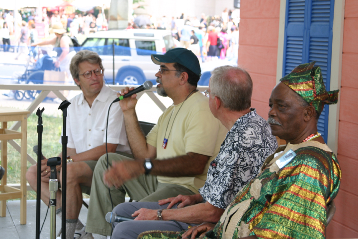 Barry Bergey, Juan Gutiérrez, Dan Sheehy, Felipe García Villamil, Nuestra Musica Program, photograph by Barry Bergey