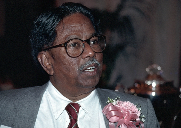 T. Viswanathan left his home in South India when he was 8 to study the *kuzhal*, a bamboo flute, with a master teacher two hundred miles away. After immigrating to the United States in 1966, he worked steadily as a performer and college professor. 1992 National Heritage Fellowship Ceremonies, courtesy National Endowment for the Arts