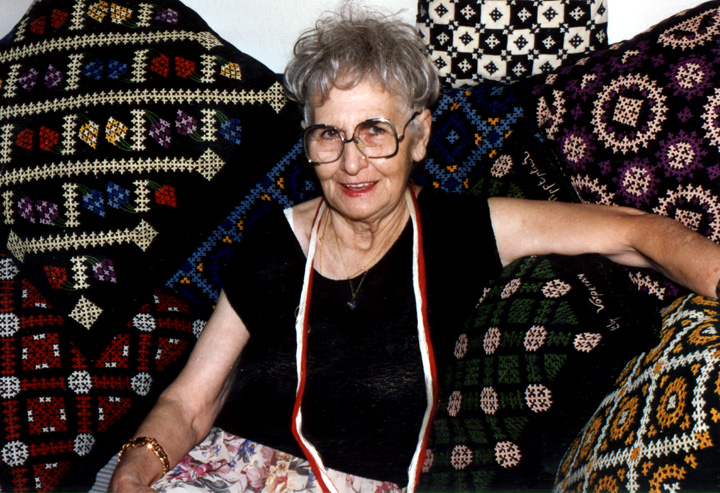 Lily Vorperian with her pieces of Marash embroidery, courtesy Lily Vorperian