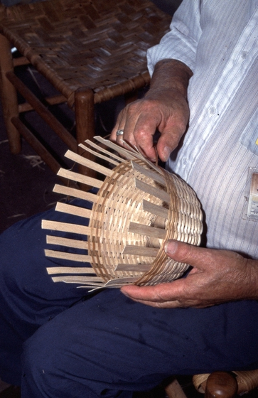 Newton Washburn working on a brown ash basket in his shop, Bethlehem, New Hampshire, August 1987, photograph by Jane C. Beck, courtesy Vermont Folklife Center