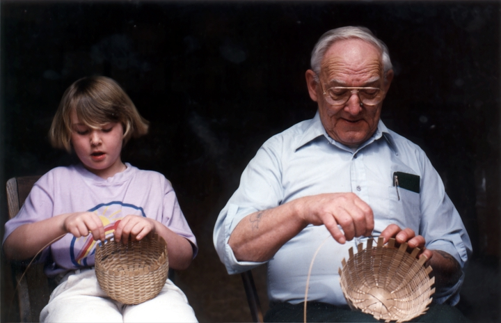 Leah Washburn and her grandfather, Newton Washburn, make brown ash baskets, Bethlehem, New Hampshire, September 1992, photograph by Jane C. Beck, courtesy Vermont Folklife Center
