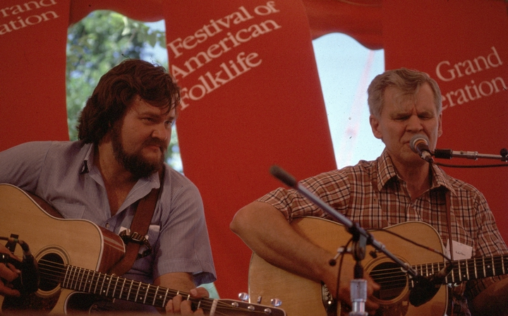 Arthel 'Doc' Watson (right), 1984 Festival of American Folklife, courtesy Ralph Rinzler Folklife Archives and Collections, Center for Folklife and Cultural Heritage, Smithsonian Institution