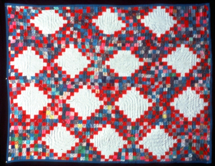 'Triple Irish Chain Strip' quilt by Gussie Wells and Arbie Williams, quilted by Willia Ette Graham and Johnnie Wade, Oakland, California, 1988, courtesy Museum of Craft and Folk Art, San Francisco