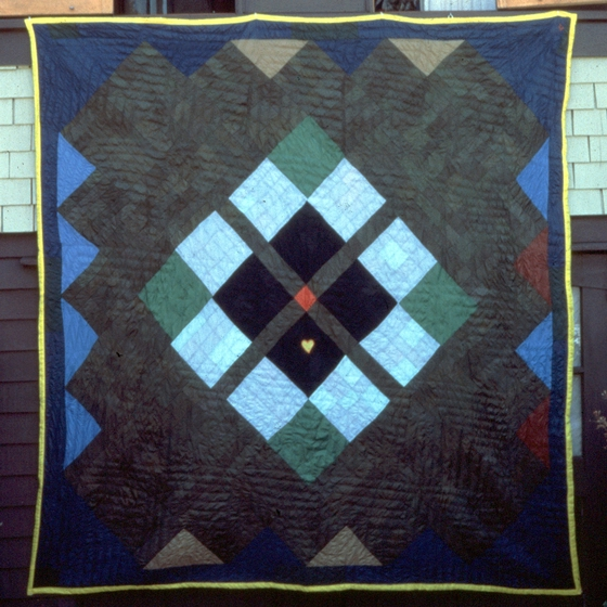 4 Patch x 9 Patch 'Medallion' quilt by Gussie Wells and Arbie Williams, Oakland, California, 1984, courtesy Museum of Craft and Folk Art, San Francisco