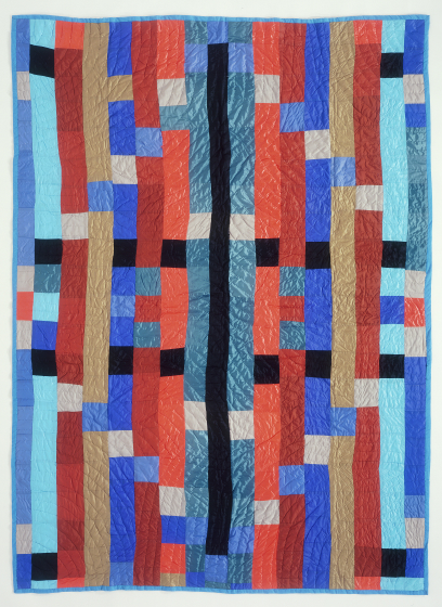 'Stip Quilt,' pieced by Gussie Wells Oakland, California, quilted by Irene Bankhead, Oakland, California, 1989, courtesy Eli Leon