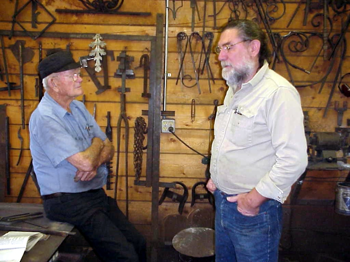 Francis Whitaker and sculptor James Surls, Carbondale, Colorado, 1998, photograph by Alan Govenar