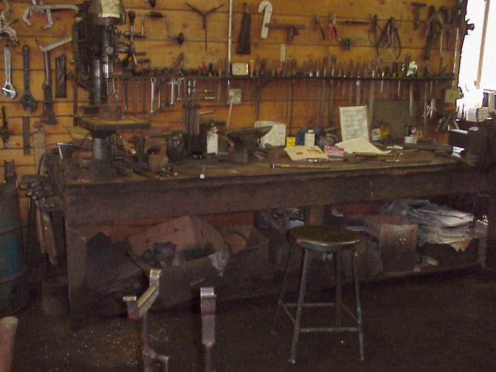 Francis Whitaker's tools in his blacksmith shop, Carbondale, Colorado, 1998, photograph by Alan Govenar