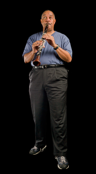 New Orleans jazz clarinetist and bandleader Dr. Michael White put his life back together and continued to teach and perform after losing a trove of documents, recordings and instruments to Hurricane Katrina. Bethesda, Maryland, 2008, Photograph by Alan Govenar