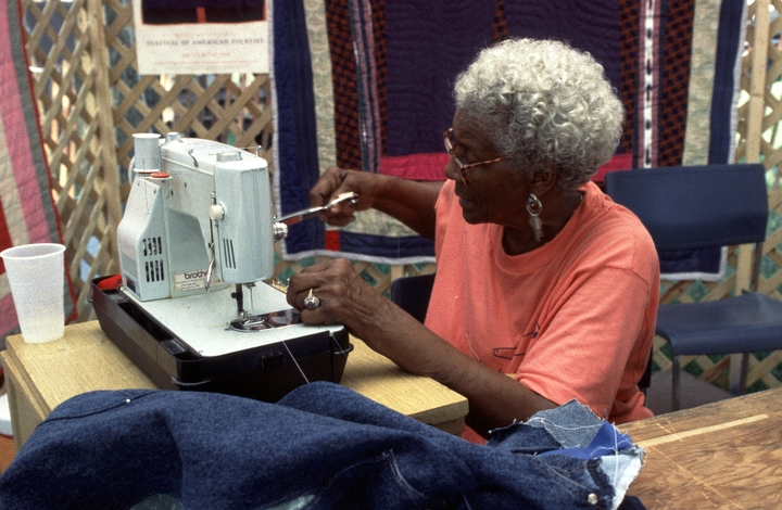 Arbie Williams, originally from East Texas,  renewed her interest in quilting when she met Gussie Wells, a native of Louisiana, in the 1980s. The women, both residents of Northern California, discovered that they shared a common aesthetic sensibility. Courtesy National Endowment for the Arts