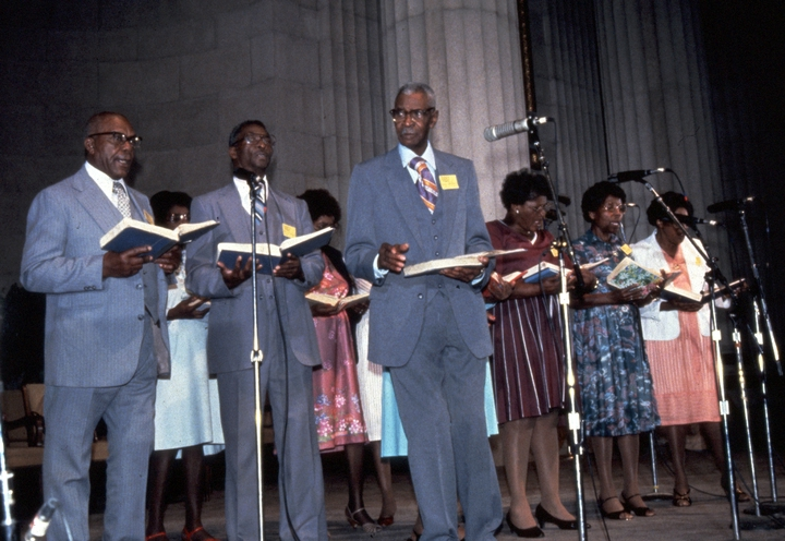 Dewey Williams and Sacred Harp singers from Alabama, 1983 National Heritage Fellowship Ceremonies, courtesy National Endowment for the Arts
