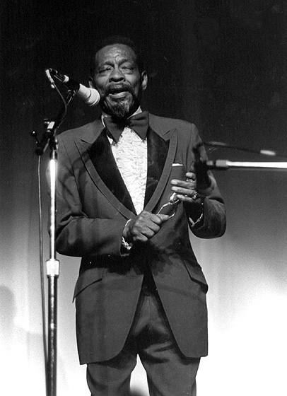 "Horace ""Spoons"" Williams, in performance at the ""Best of Folklife"" concert, May 18, 1985, presented by the Folklife Center, International House of Philadelphia, Pennsylvania.  Photograph by Steven Goldblatt, courtesy National Endowment for the Arts"