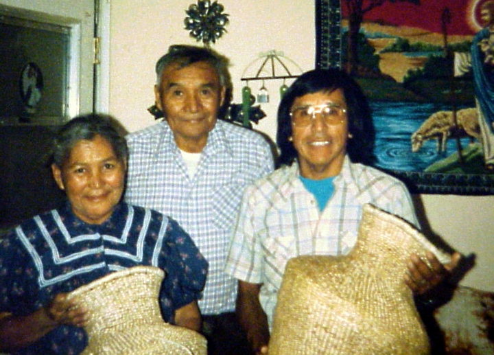 Pastor Elmer Nosie (center) and his wife, Lottie Nosie (left), of the Miracle Church of Bylas with Chesley Goseyun Wilson (right), San Carlos Apache Reservation, San Carlos, Arizona. Courtesy Chesley Goseyun Wilson and National Endowment for the Arts
