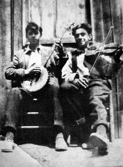 Melvin Wine (right) and his brother, Clarence Wine, were music-making buddies. They played together in Braxton and neighboring counties. Photographer and date unknown, courtesy *Goldenseal* magazine