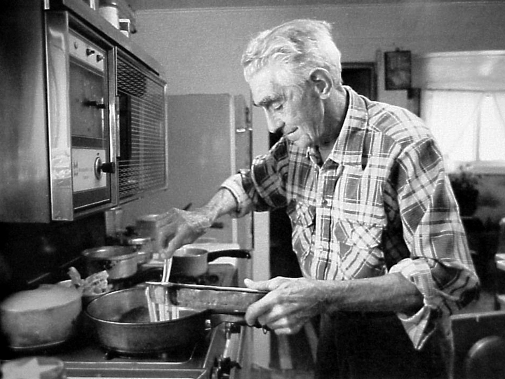 'Melvin Wine has learned to cook since wife Etta had a stroke. We understand his biscuits are as good as anyone's.' Photograph and comments by Susan Leffler, courtesy *Goldenseal* magazine