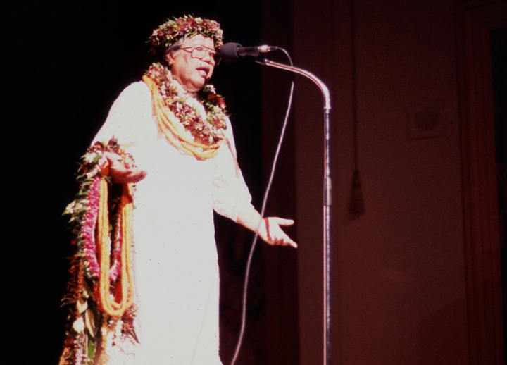 Emily Kau'i Zuttermeister studied vital Hawaiian traditions with her uncle, then opened her own *hula* school. She taught *hula*, traditional chants, and *pahu* drumming for more than fifty years. 1984 National Heritage Fellowship concert, courtesy National Endowment for the Arts